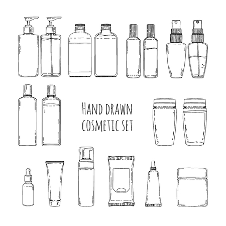 Set of hand drawn of cosmetics for skin care. Doodles of cosmetic bottles and cosmetic package. Set of cosmetic bottles for shampoo, creams, tonic. Vector illustration Illustration