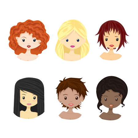 female girl: Set of diverse female woman girl avatars isolated on white background. Woman with different skin tones, hair colors, haircut. Beautiful girls in cute and simple flat cartoon style. Vector
