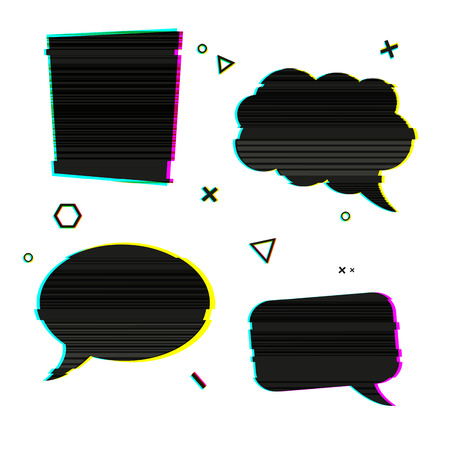 banner effect: Speech bubble icons in the style of a glitch on white background. Banner design with vsh effect, glitch and noise for presentation, web banner. Vector illustration