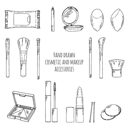 skin care woman: Makeup kit in doodle style. Hand drawn cosmetics makeup and makeup accessories. Linear style cosmetics makeup. Makeup brushes set. Vector illustration