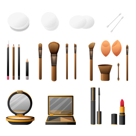 glamorous: Makeup kit in cartoon flat style. Elegance cosmetics makeup and makeup accessories. Glamorous make up and accessories. Makeup powder and makeup brushes. Vector illustration