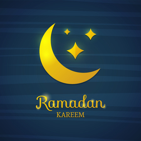 blue star background: Golden crescent on a blue background. Yellow moon for Ramadan. Card for Ramadan. Card, banner with a crescent gold moon and star for Ramadan. Vector illustration Illustration