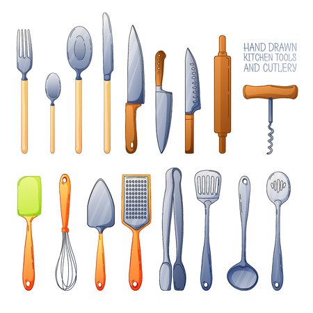kitchen utensils: A set of cutlery. Cutlery spoon, fork, blender, knives. Cutlery for cooking. A set of cutlery for serving. Cartoon set of kitchen cutlery. Vector illustration