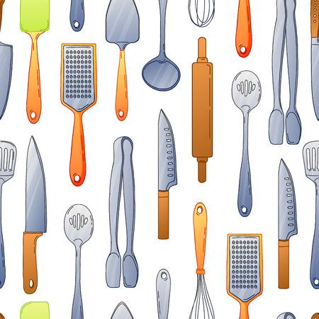 Seamless sfondo con un modello di posate. modello verticale di posate colorate. Sfondo con utensili da cucina in stile cartone animato. illustrazione di vettore