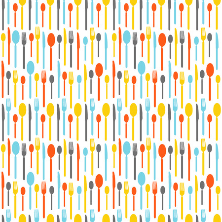 tablespoon: Colorful seamless pattern with silhouettes of cutlery. Wallpaper with colored silhouettes of cutlery. Silhouettes fork, knife, teaspoon, tablespoon. Vector illustration Illustration
