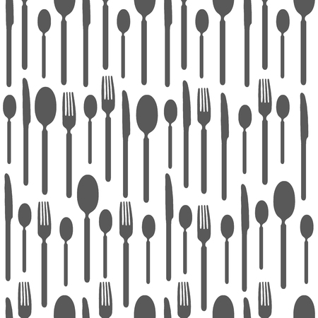tablespoon: Black and white seamless pattern with silhouettes of cutlery. Wallpaper with black and white silhouettes of cutlery. Silhouettes fork, knife, teaspoon, tablespoon. Silhouettes of cutlery for eating. Illustration