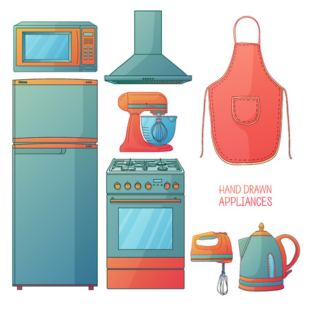 kitchen illustration: Set of kitchen tools. Kitchen household furniture in a cartoon style. Silhouette of kitchen tools and accessories. Appliances for kitchen interior. Vector illustration