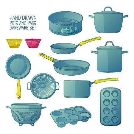 colander: Cartoon kitchen utensils for baking. A set of dishes for baking: frying pan, saucepan, a colander. Molds for cupcakes. Baking tools. Silhouettes kitchenware. Vector illustration Illustration