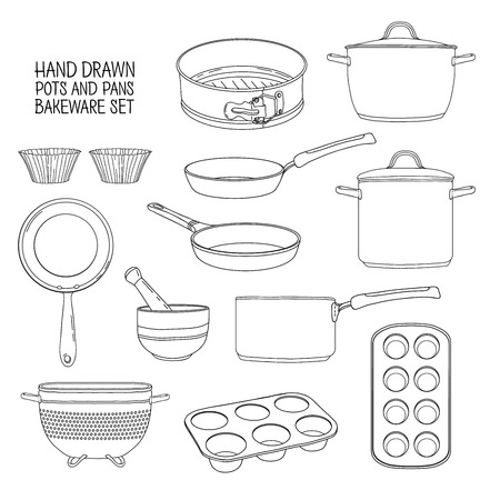 colander: Kitchen utensils for baking. A set of dishes for baking: frying pan, saucepan, a colander. Molds for cupcakes. Silhouettes of utensils for cooking. Silhouettes kitchenware. Vector illustration