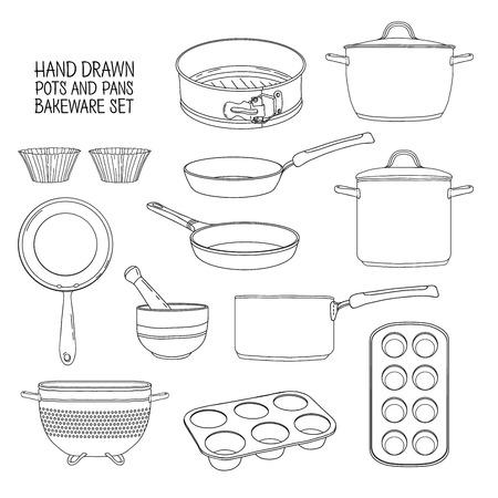 utensilios de cocina para hornear. Un conjunto de platos para hornear: sartén, cacerola, un colador. Moldes para magdalenas. Siluetas de los utensilios para cocinar. Siluetas utensilios de cocina. ilustración vectorial Ilustración de vector