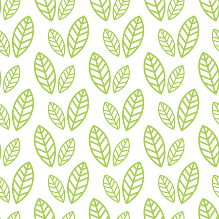 Simple seamless organic wallpaper with a pattern of green leaves and green leaf in a linear style. Good for organic wallpaper, packaging, invitations, organic background, scrap-booking. Vector