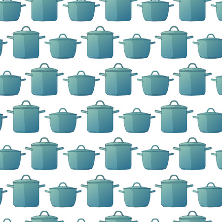 Horizontal seamless background with a pattern of pots in a cartoon style