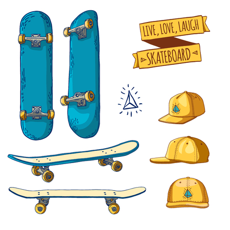 skates: Set of colored stickers and labels with skateboards and caps. For labels, logos, icons. Attributes of skateboarding. Skate set with caps. Skateboard style. Vector illustration