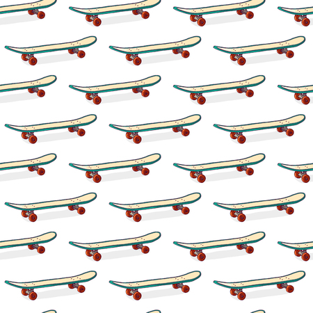 skatepark: Seamless color pattern with skateboards. Pattern with skateboards for prints, fabric, stickers. Wallpaper with a pattern of skateboards in a linear style. Skateboard pattern for hipster design. Vector illustration