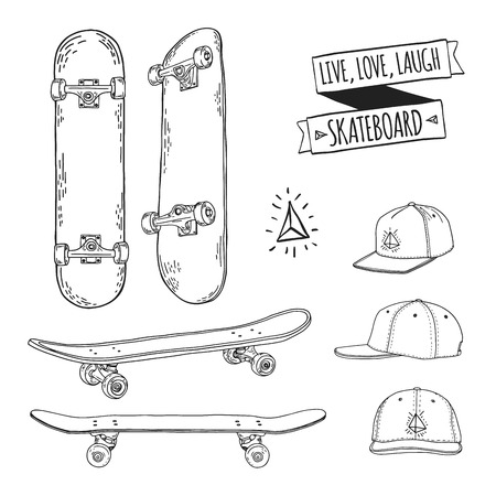 skatepark: Set of black and white skateboards and caps. For labels, logos, icons. Attributes of skateboarding. Skate set with caps. Skate set for print and sticker. Skateboard style. Vector illustration