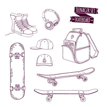 sports equipment: Set teenager things. Street style. Things teenager. All sports skateboarding. Monochrome skateboard set. Hipster style. Cartoon style. Vector illustration Illustration