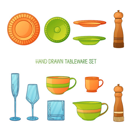 dishes set: Kitchen utensil set. A set kitchenware. Kitchen utensils in hand drawn cartoon style. Kitchen dishes set. Kitchen utensils for serving. Silhouettes of kitchen dishes. Vector illustration