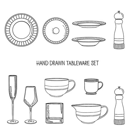 kitchen utensil: Kitchen utensil set. A set kitchenware. Kitchen utensils in hand drawn style. Kitchen dishes. Kitchen utensils for serving. Silhouettes of kitchen dishes. Vector illustration Illustration