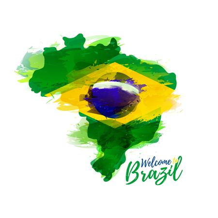 bandera: Símbolo, cartel, pancarta Brasil. Mapa de Brasil con la decoración de la bandera nacional. Estilo de dibujo de la acuarela. Brasil y la bandera nacional. ilustración vectorial