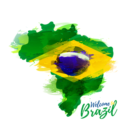 brazilian flag: Symbol, poster, banner Brazil. Map of Brazil with the decoration of the national flag. Style watercolor drawing. Brazil map with national flag. Vector illustration Illustration