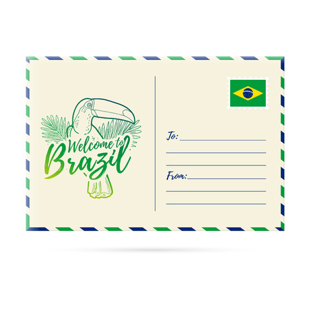 picture card: Postcard invitation with a picture toucan. Card Welcome to Brazil. Stamp with the national flag of Brazil. Invitation Welcome to Brazil. Vector illustration