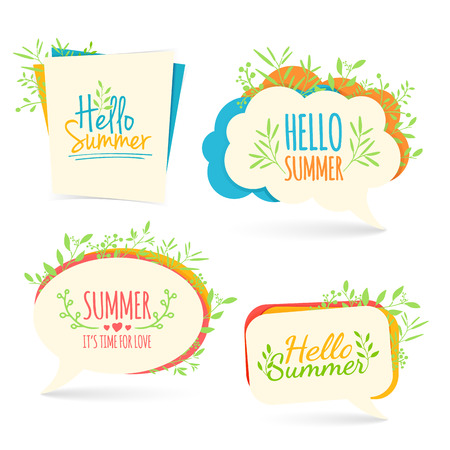 summer nature: Bubble with Hello summer decoration with plants, flowers. Summer nature decor. Collection talk bubble summer banner. Vector illustration Illustration