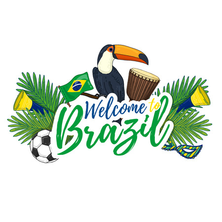 djembe: Banner, poster, sign, invitation Welcome to Brazil. Banner with the decor of the Brazilian flag, toucan, djembe, a mask and football. Brazil culture. Brazil flag. Brazil banner. Vector illustration