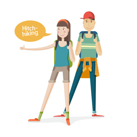 people traveling: Two young people Couple tourists. Couple hitchhiking. Young people with backpacks with a finger up. Girl and boy hitchhiking in a cartoon flat. Hitchhiker traveling with backpack. Isolated. Vector illustration Illustration