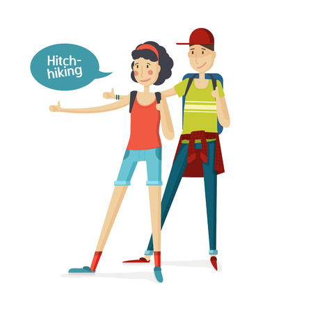 Hitchhiking tourism two people. Girl and boy hitchhiking in a cartoon style flat. Man and woman with a big backpack stopped a ride by thumbing. Young girl and boy. Young tourists girl and boy. Vector illustration