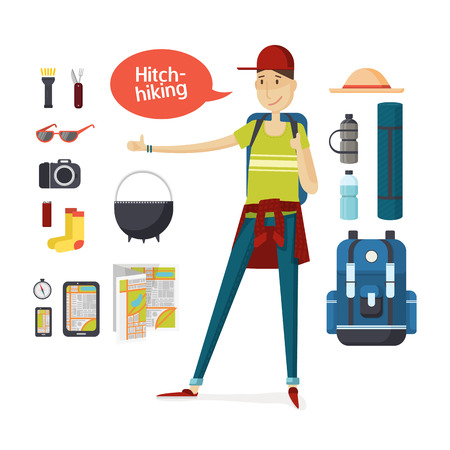 illustration people: Traveler with big backpack hiking and travel gear in a cartoon style flat. Boy hitchhiking. Young man hitchhiking deals, tourism, hiking, travel. Set of camping equipment and travel. Vector illustration Illustration