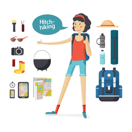travel gear: Girl hitchhiking. Young woman hitchhiking deals, tourism, hiking, camping. Set of camping equipment and tourism. Girl with big backpack hiking and travel gear in a cartoon style flat. Vector illustration