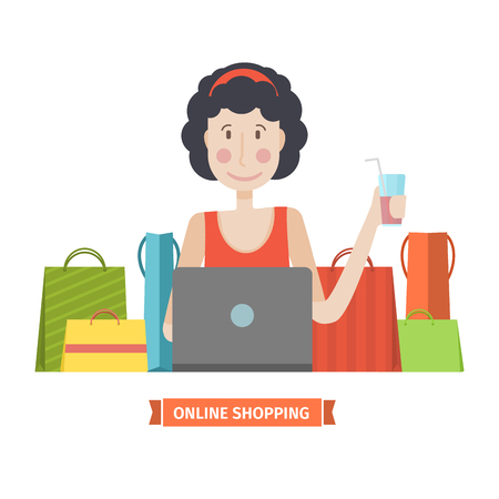 online purchase: The character of a young girl with a laptop and credit card. The woman is engaged in online shopping. Online shopping home. Young girl in a cartoon style flat with bags and purchase. Vector illustration