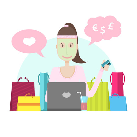 woman holding money: The character of a young girl with a laptop and credit card. The woman is engaged in online shopping. Spa procedures and online shopping at home. Young girl with mask on his face and purchase. Vector illustration Illustration