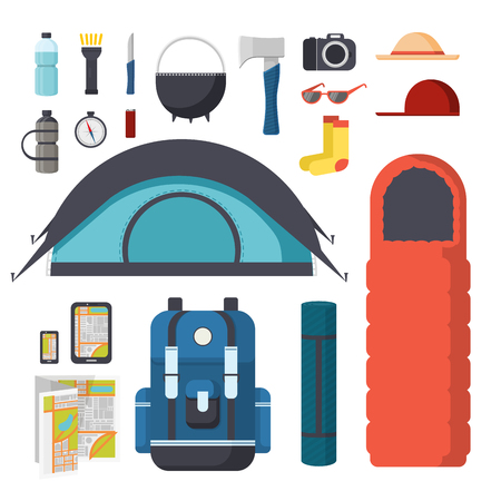 sleeping bag: Collection of items for hiking and camping. Traveler Set - tent, sleeping bag, mat, gadgets, map. Tourist hiking backpack with things. Set of things for tourism in nature. Vector illustration Illustration