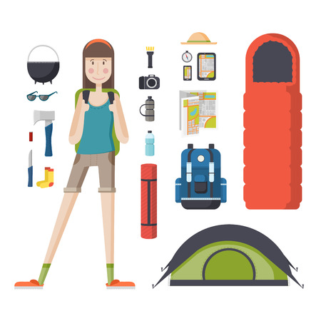 woman hiking: Girl tourist with a backpack and a set of tourist things. Young woman traveler with a backpack, a sleeping bag, a tent. Girl student ready for the journey, deals, tourism, hiking, camping.