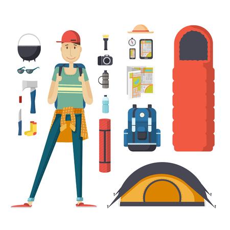 MOCHILA: turismo chico con una mochila y un conjunto de cosas de interés turístico. viajero varón joven con una mochila, un saco de dormir, una tienda de campaña. Estudiante del hombre listo para el viaje, ofertas, turismo, senderismo, camping.