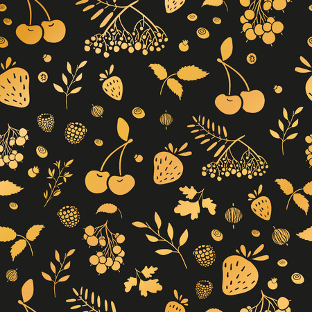 whortleberry: Seamless wallpaper pattern with gold berries. Seamless background with berries on a black background. Wallpapers with natural decor in an organic style. Vector illustration