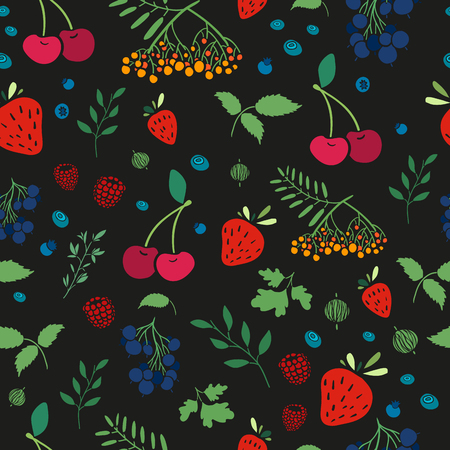 whortleberry: Seamless wallpaper pattern with berries. Wallpapers with natural decor in an organic style