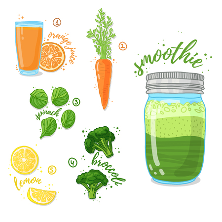 woman eating: Green vegetable smoothie from spinach, broccoli, carrots for a healthy diet. Cocktail in a glass jar. Cocktail for energy and diets. Recipe vegetarian smoothies for health. Vector illustration