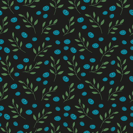 whortleberry: Seamless wallpaper with a pattern of berries and plants. Seamless background with blueberries on a black background. Wallpapers with natural decor in an organic style. Vector illustration Illustration