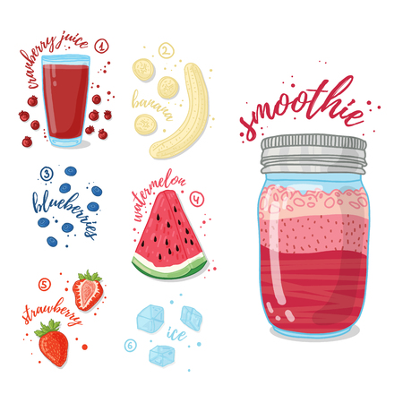 cranberry illustration: Summer smoothie with cranberry juice, banana, watermelon, strawberries and blueberries. Vegetarian cocktail in a glass jar. Recipe smoothie for healthy food with fruit and berry. Vector illustration
