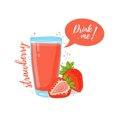 drink me: Design Template banner, poster, icons strawberry smoothies. Illustration of strawberry juice Drink me. Strawberry cocktail with berries. Vector illustration
