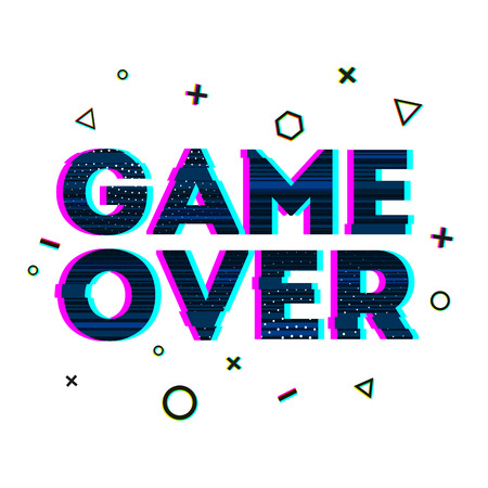 resignation: Word Game over in Ornamental design glitch and noise. Designs for banners, web pages, screen savers, presentations glitch style. Vector illustration
