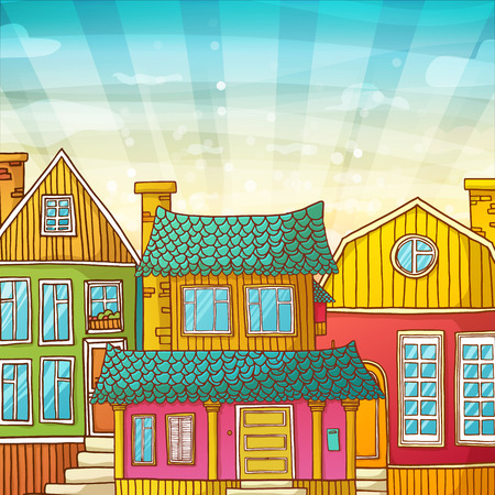 sample environment: Card with houses and the sky in a cartoon style. Banner with cartoon exteriors of houses. The facades of the houses. Vector illustration Illustration