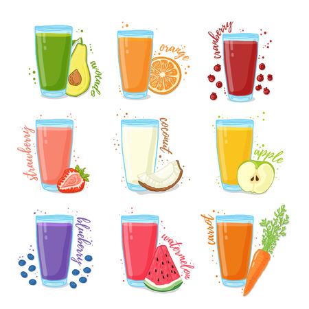 vaso de jugo: Establecer los jugos de frutas y verduras. Colección de ilustraciones de bebidas para una dieta saludable. El jugo de las bayas, frutas y verduras para los vegetarianos. Doodle lindo estilo. ilustración vectorial