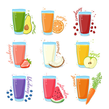 Set juices from fruits and vegetables. Collection of illustrations of drinks for a healthy diet. Juice from the berries, fruits and vegetables for vegetarians. Doodle cute style. Vector illustration