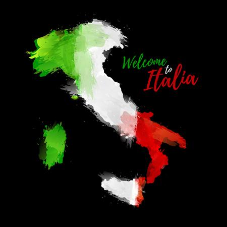 Mapa de Italia con la decoración de la bandera nacional. Estilo de dibujo de la acuarela. Mapa de Italia con la bandera nacional en el fondo negro. ilustración vectorial