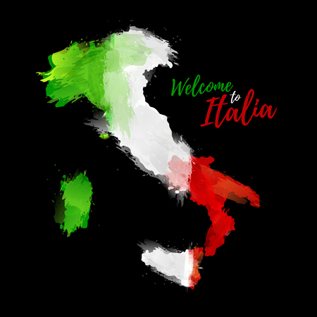 Map of Italia with the decoration of the national flag. Style watercolor drawing. Italy map with national flag on black background. Vector illustration Illustration