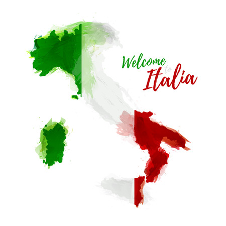 italia: Symbol, poster, banner Italia. Map of Italia with the decoration of the national flag. Style watercolor drawing. Italy map with national flag. Vector illustration