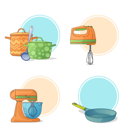 kitchen utensil: A set of kitchen utensils in a cartoon style. Kitchen tools and appliances for cooking. Labels, stickers, icons pan, blender, frying pan. Kitchen pan. Kitchen mixer. Kitchen pots. Vector